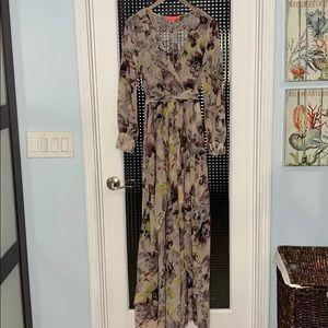 XTaren Long Sleeve Floral Mauve Dress (Large) EM